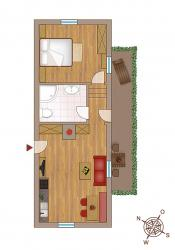 "Layout holiday apartment ""Apfel"" 32 m² for 1-2 people"
