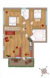 "Layout holiday apartment ""Sonne"" 68 m² for 2-4 people"