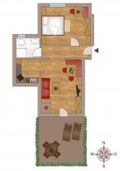 "Layout holiday apartment ""Traube"" 41 m² for 1-2 people"